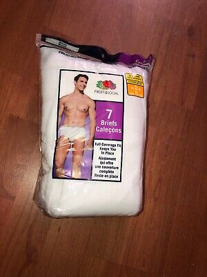 Fruit Of The Loom Mens 7 Pack White Briefs Tagless 100% Cotton XL!!