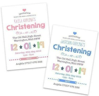 Baptism Naming Day Invitation Cards CB009 Personalised Photo Boys//Girls Christening Pack of 50