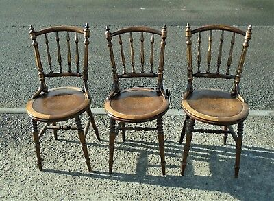 3 Antique Spindle Back Bentwood Chairs      Delivery Available