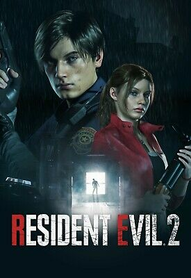 Resident Evil 2 Game Poster - Leon Kennedy Claire Redfield - NEW - 11x17 13x19