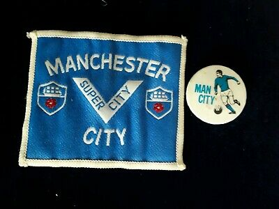 VINTAGE 1970s MANCHESTER CITY BADGE AND CLOTH PATCH PIN BUTTON EXC CONDITION