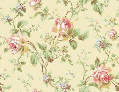 Dollhouse Miniature Shabby Chic Wallpaper Pink Roses Yellow Floral Flowers 1:12