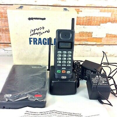 Vintage OKI Telecom GTE Mobile Cell Phone Tele Go Base Charger Batteries AC Cord