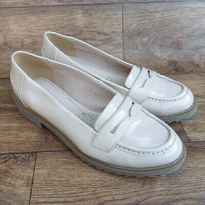 d5d86878b2e Size Uk 7 D Clarks Griffin Milly Nude Patent Leather Loafers Slip On Shoes