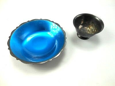 2 Vintage Silver Plated Bowls Wm Rogers & Paul Revere Blue Lined