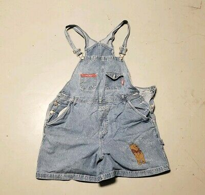 Winnie The Pooh Women's Denim Short Overalls Pooh Bear Plus Size 18W