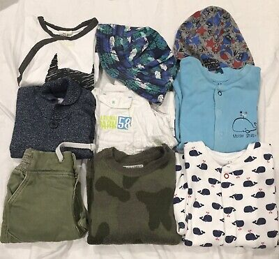 Baby Clothes Used, Boy, 9/12 Months, Set Of 10 Pieces Of Clothing, Mixed Brands.