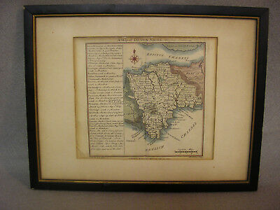 Antique Map Devonshire England Hand Colored 1742 WH Toms 18th Century Original