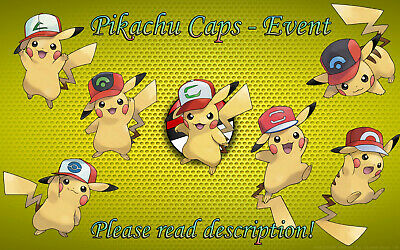 Pokemon Pikachu Caps Hats EU/US Events 6 IV - Sun/Moon Ultra Sun/Ultra Moon
