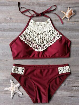 1e4201ad30 Cupshe BLOOMING ABOVE BIKINI SET Padded Lace Halter Bottoms BURGUNDY  Swimsuit L
