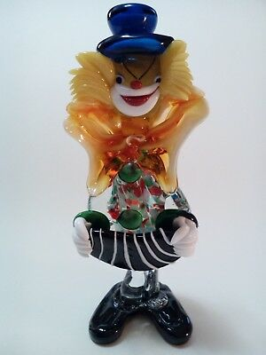 "Murano GLASS CLOWN  Italy Hand Blown Swirl Art  10 1/2"" Tall"