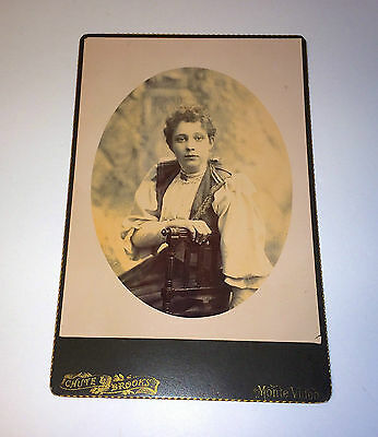 Antique Monte Video Victorian Woman in Ethnic Fashion Cabinet Card Photo!