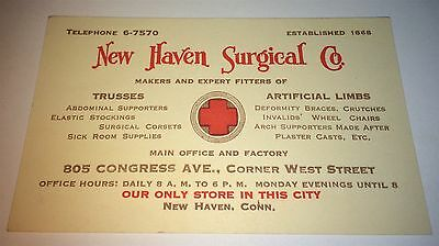 Rare Antique American Medical Advertising New Haven Surgical Co Trade Card! US!