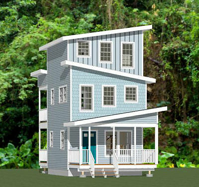 16x16 Tiny House -- 671 sqft -- PDF Floor Plan -- Model 22B
