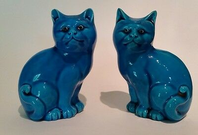Vintage Pair of Beautiful Chinese Turquoise Blue Asian Cat Sculptures Antique