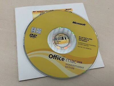 Microsoft Office 2008 Home and Student Mac UK Retail software with licence/media