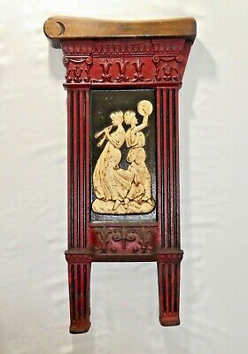 """Antique Art Deco THEATER SEAT END 2 Greek Muses. No 300 L. 25""""H x 12""""W. 21 lbs."""