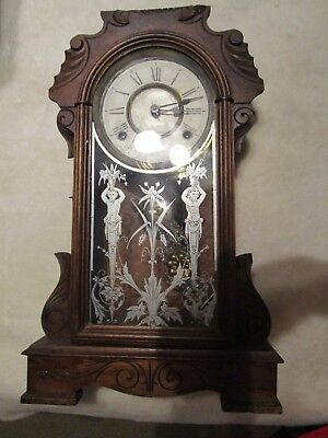 Antique Ansonia Wood Mantle Clock For Parts Or Repair. Pendulum + Key