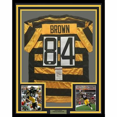 724cdd9c7 FRAMED Autographed Signed ANTONIO BROWN 33x42 PItt Bumble Bee Jersey JSA COA
