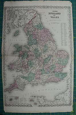 England & Wales Vintage Original Antique 1870 Colton World Atlas Map