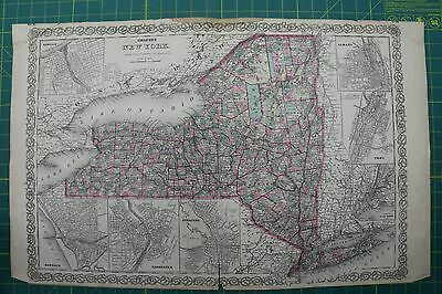 New York Vintage Original Antique 1870 Colton World Atlas Map