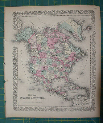North America Vintage Original Antique 1870 Colton World Atlas Map