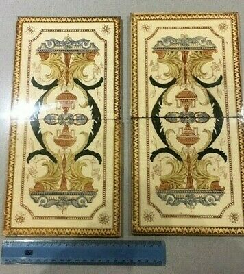 Antique set of four fireplace ceramic tiles, used, sold as seen