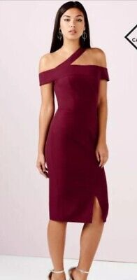 96fd43e204 Bnwt Size 12 Girls On Film Plum Burgundy Red Dress Off Shoulder Races  Wedding