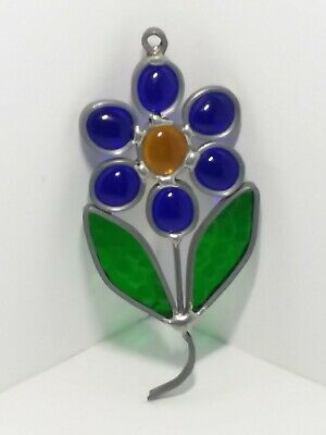 HANDCRAFTED Stained Glass BLUE BEAD FLOWER SUN CATCHER Window Decor ORNAMENT