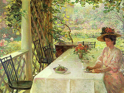 Art Oil painting Chadwick William - young woman drinking tea Hand painted