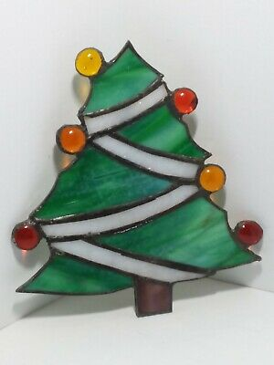HANDCRAFTED Stained Glass CHRISTMAS TREE SUN CATCHER Window ORNAMENT Green Red