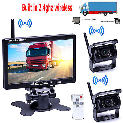 "2X Wireless IR Night Vision Backup Rear View Camera +7"" Monitor for RV Bus Truck"