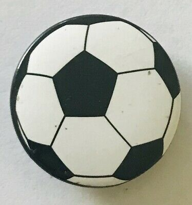 Soccer Ball Football Black & White Button Badge Pin Vintage (L42)