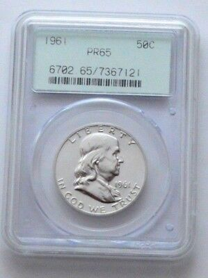 1961-P Proof PR-65 FBL Franklin Half Dollar COIN silver 50c !! PCGS