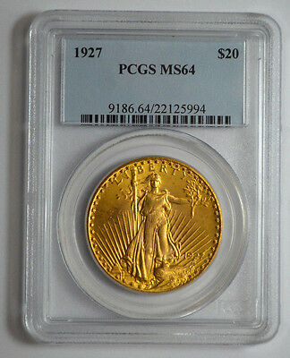 1927  $20 Pcgs Ms64  Gold St. Gaudens Double Eagle Old Gold Us Coin !!!!