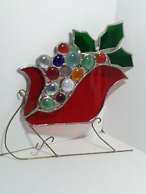 HANDCRAFTED Stained Glass SLEIGH SUN CATCHER Window Christmas ORNAMENT Red HOLLY