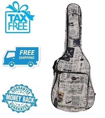 "New 41"" Newspaper Acoustic Guitar Carrying Case Water Resistant Oxford Cloth Bag"