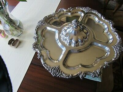 """STUNNING  Silver Plated Lazy Susan (5 Compartment) Serving Tray with Lid 20.5"""""""