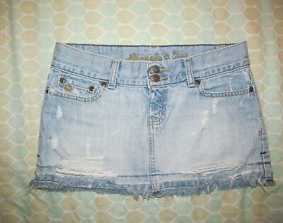 c9edc7f03f Abercrombie & Fitch denim Destroyed cut off MICRO mini skirt double button  sz 0