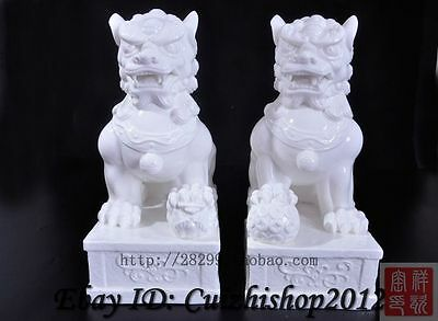 "13"" Chinese Dehua White Porcelain Folk Guardion Foo Fu Dog Door Lion Statue Pair"