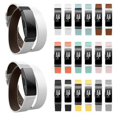 For Fitbit Inspire Genuine Leather Replacement Double Wristband Band Strap