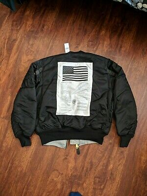 NEW Alpha Industries MA-1 Bomber Jacket M - Black/Grey BLOOD EDITION