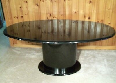 Mid Century Modern Black Lacquer Large Oval Top Pedestal Base Dining Table