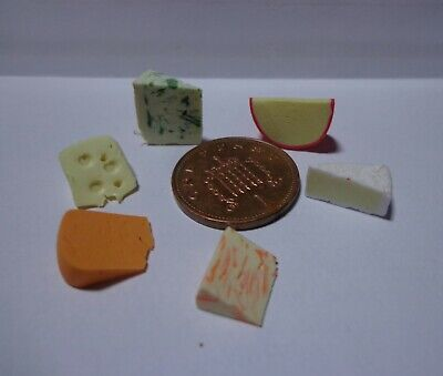 1:12 Scale 6 Mixed Cheese Slices Dolls House Miniatures Food Accessory