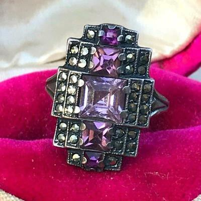Vintage Art Deco Sterling silver Amethyst Paste Marcasite Ring - Size 5 1/2-6