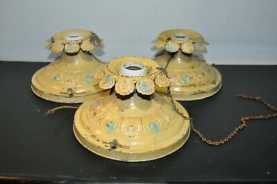 Lot of 3 Antique Brass Original Paint Flush Mount Light Fixture Ceiling