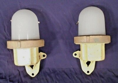 Pair Of Mid Century Steam Punk Industrial Dome Top Glass And Iron Sconces