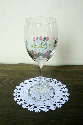 White Doily Hand Knitting Crochet Cup Glass Placemat Tablecloth Home Decorate