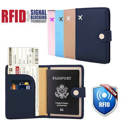 RFID Block Passport Holder Wallet Cover Travel Case Organizer Protector Leather