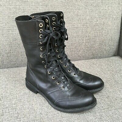 9aa0a6a4fc8 TIMBERLAND BLACK SAVIN Hill Toe Cap Boot Lace Up Zip Combat Wingtip Mid  Women 7